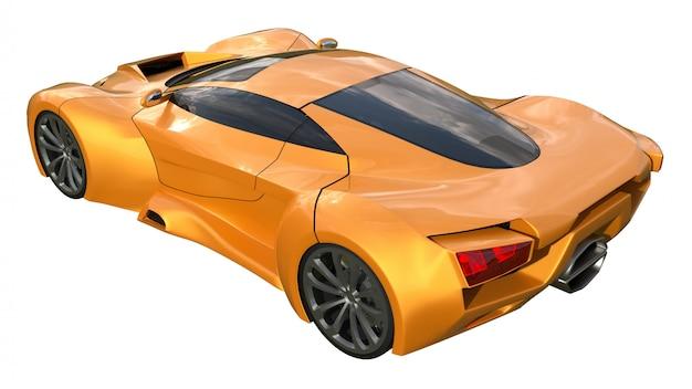 Conceptuele oranje racewagens. 3d-weergave