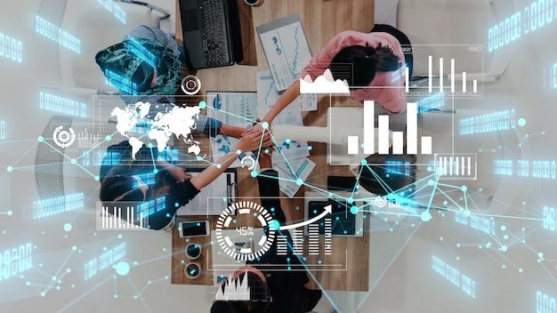 Conceptuele visie van zakenmensen in de corporate staff meeting