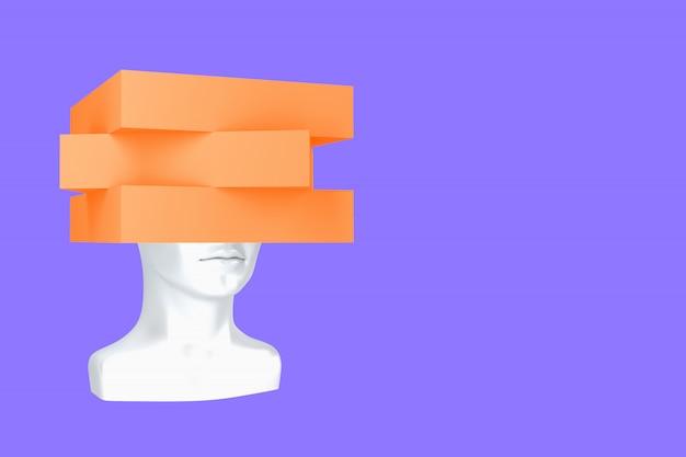 Conceptuele weergave van een vrouwelijk hoofd met verpletterde problemen 3d illustratie