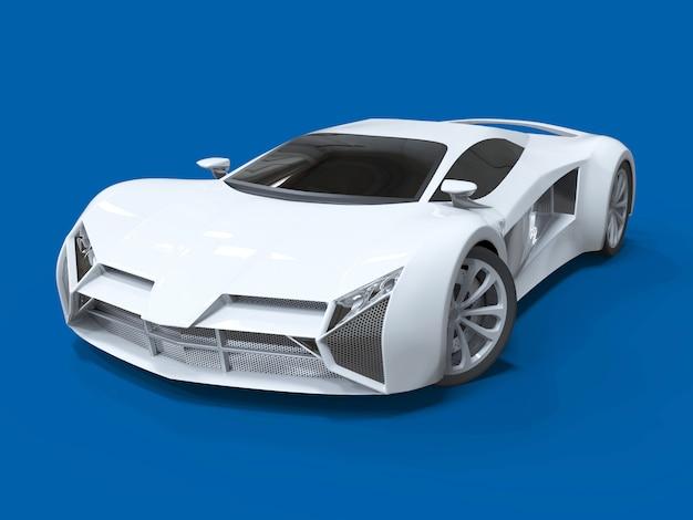 Conceptuele witte sportwagen met hoge snelheid blauw uniform glanzende en zachtere schaduwen