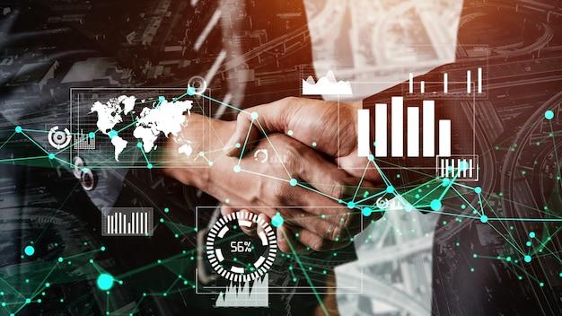 Conceptuele zakelijke handdruk met dashboard voor financiële gegevensanalyse