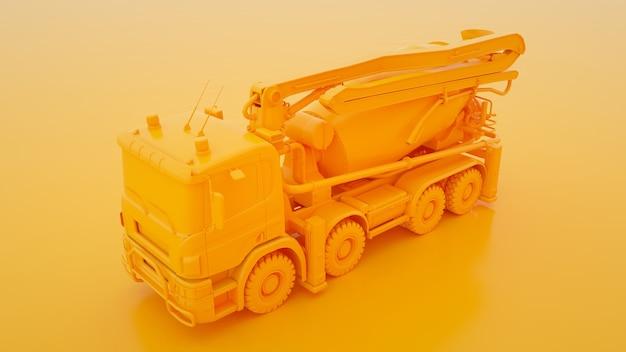 Concrete mixer truck geïsoleerd op gele 3d illustratie.