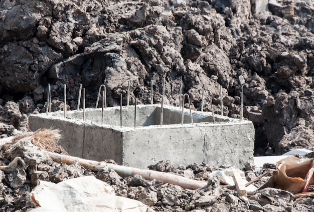 Concrete riooldrainage in in aanbouw.