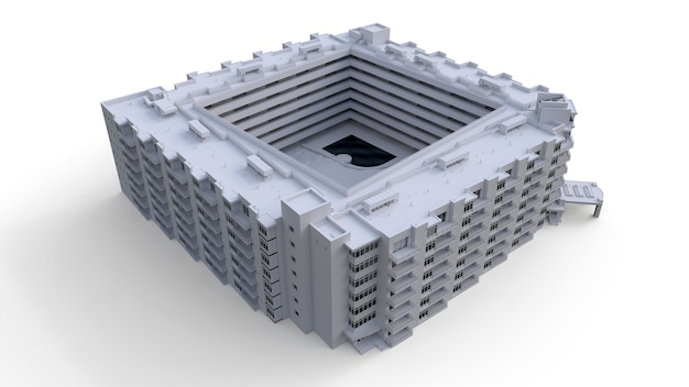 Condominiummodel in witte kleur met transparante glazen 3d-rendering