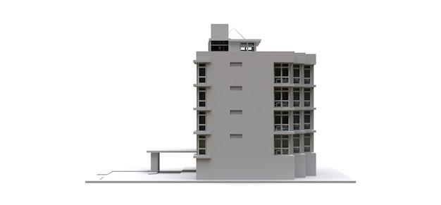 Condominiummodel in witte kleur met transparante glazen. appartement huis. 3d-rendering.