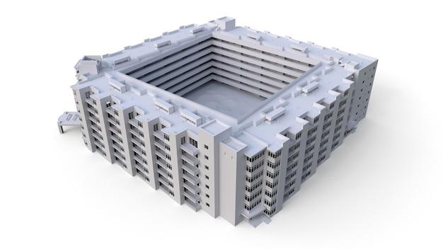 Condominiummodel in witte kleur met transparante glazen. appartementenhuis met een binnenplaats. 3d-rendering.