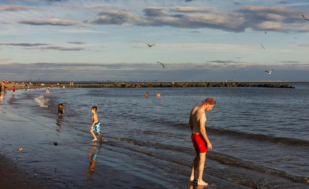 Coney island beach in de stad van new york