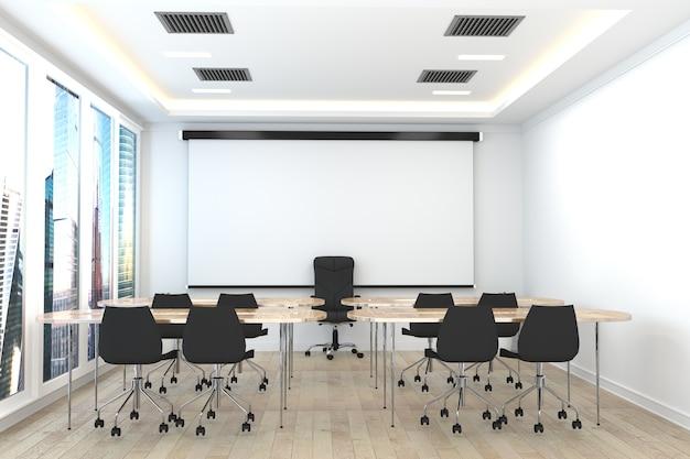 Conferentieruimte interieur in witte kamer. 3d-rendering
