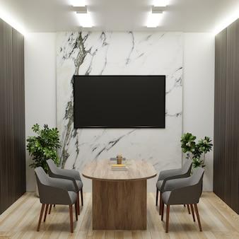 Conferentieruimte met tv aan de marmeren muur, stoelen en bureau
