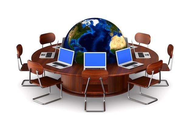 Conferentietafel op wit. geïsoleerde 3d-afbeelding