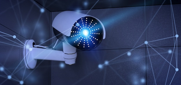 Conncetion over een veiligheidscctv camerasysteem - het 3d teruggeven