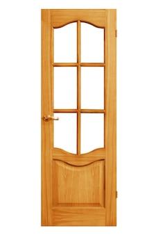 Constructies. houten deur geïsoleerd op witte achtergrond