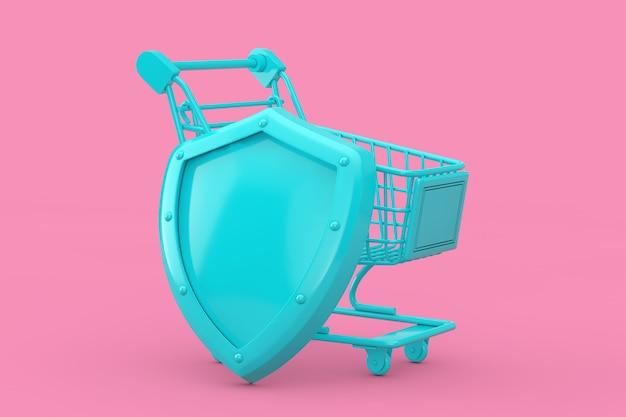 Consumentenbeschermingsconcept. blauwe winkelwagen met blauw metalen schild in duotone-stijl op een roze achtergrond. 3d-rendering