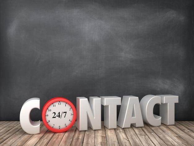 Contact 3d word met klok op schoolbord