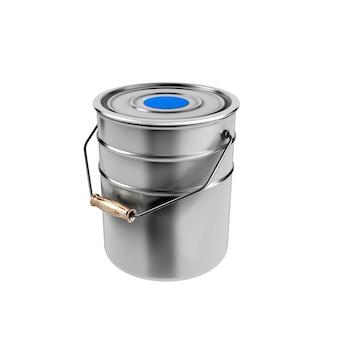 Container met blauwe verf geïsoleerd op wit