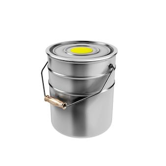 Container met gele verf op wit wordt geïsoleerd