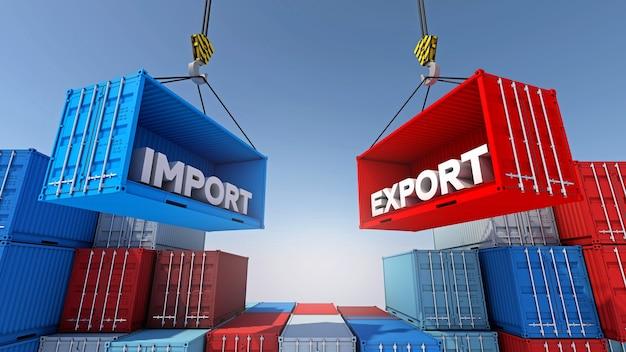 Containerlading voor import export zakelijke logistiek, 3d-rendering