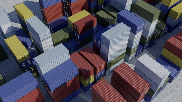 Containers voor schip in haven. logistiek. verschepende lading bij dok. luchtfoto. 3d render