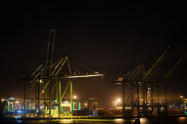 Containerterminal in de haven met enorme kranen. panama, colon