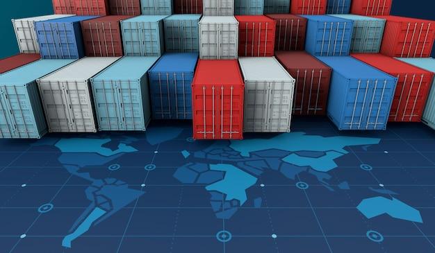 Containervrachtschip in import-export bedrijfslogistiek op digitale wereldkaart