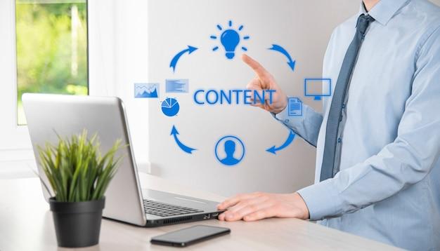 Contentmarketingcyclus - online content creëren, publiceren, distribueren voor een gericht publiek en analyseren.