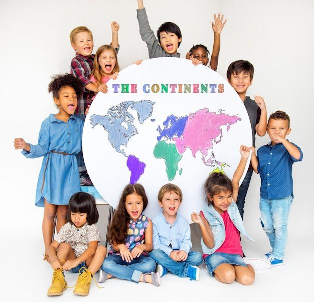 Continenten wereldplane diverse etniciteit