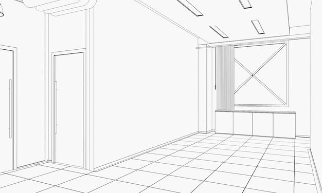 Contour visualisatie van een groot leeg interieur schets schets cg render