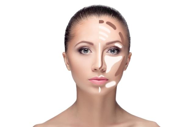 Contouren. make-up vrouw gezicht. contour en markeer make-up