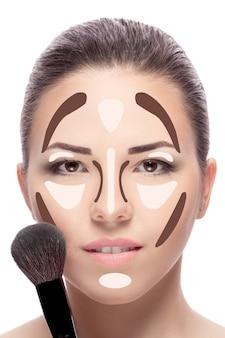 Contouren make-up vrouw gezicht