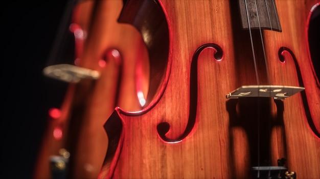 Contrabas en cello in donkere studio. 3d-afbeelding