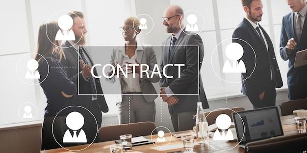 Contract overeenkomst belofte contractie contractie concept