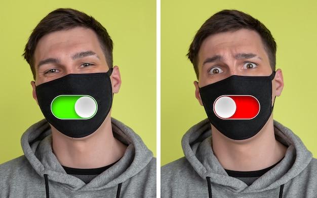 Controle gezichtsmasker. stemmingsschakelaar op mannelijk gezicht. gelukkig en boos, splitsende persoonlijkheid. moderne interface en menselijke emoties. eigentijds kunstwerk, gezichtsuitdrukking in de technische wereld. digitaal emoji-portret.
