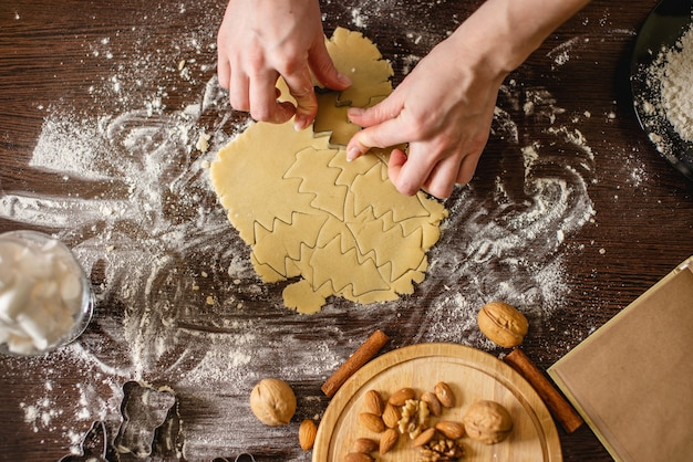 Cook huisvrouw kerstkoekjes thuis maken op een kleurrijke keuken