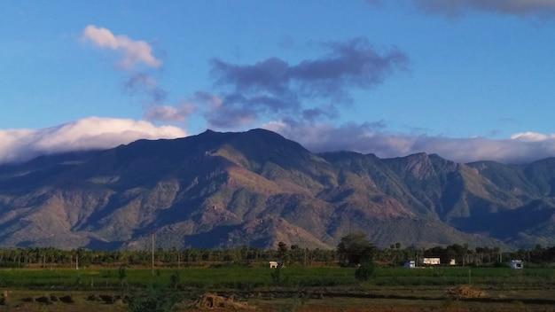 Cool blue mountain vroeg in de ochtend