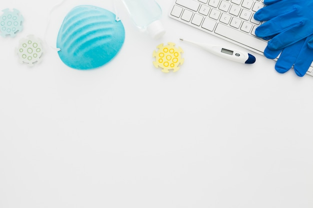 Copy-space apparatuur op het bureau
