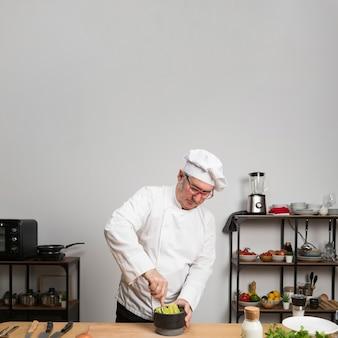 Copy-space chef-kok koken