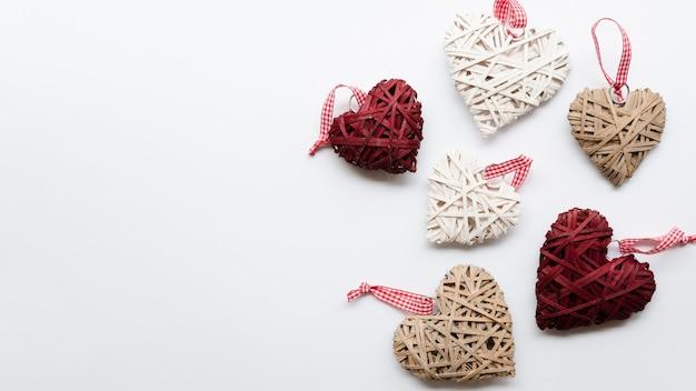 Copy-space harten decoraties op tafel