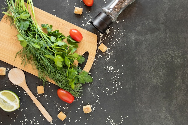 Copy-space ingrediënten voor salade