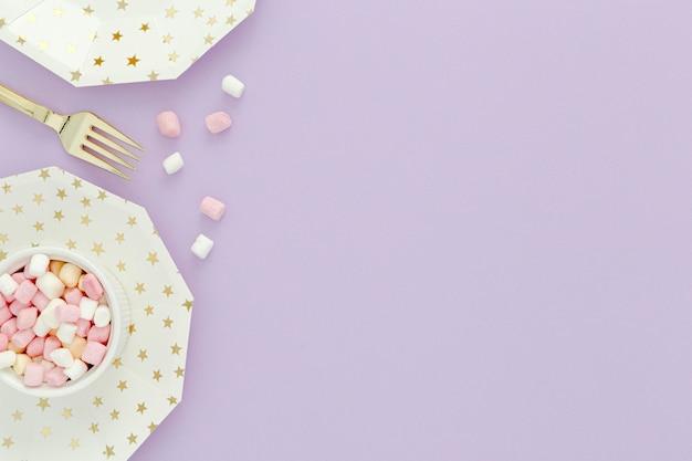 Copy-space snoepjes voor verjaardagsfeestje