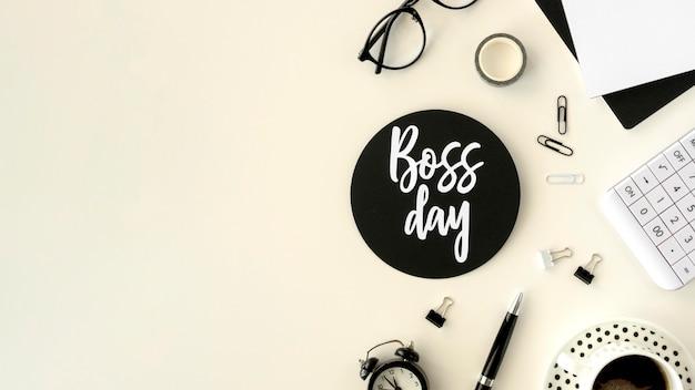 Copy-space-teken voor de dag van de baas