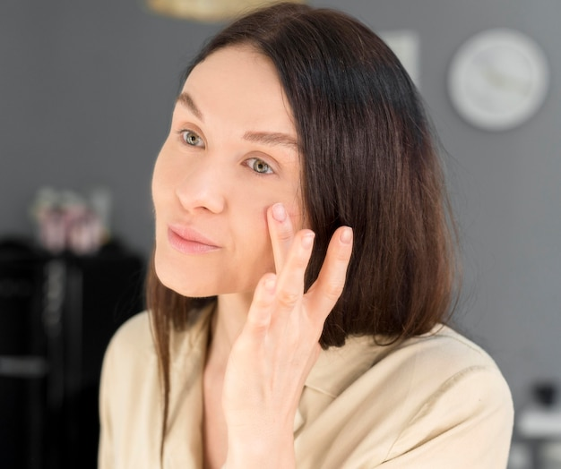 Copy-space vrouwelijke make-up
