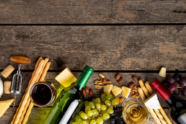 Copy-space wijn en heerlijke snack