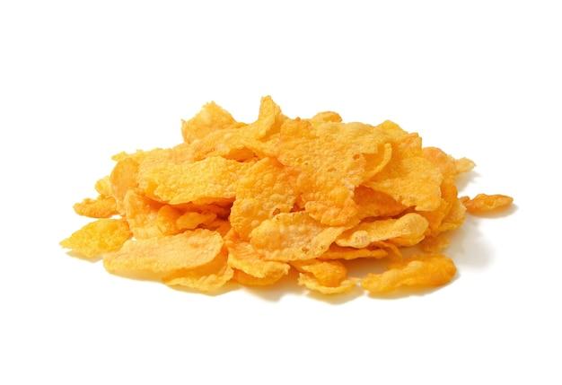 Cornflakes, graangewas op wit wordt geïsoleerd dat