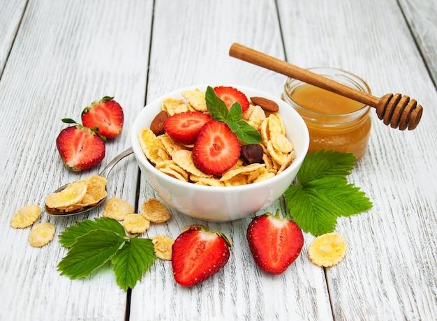 Cornflakes met aardbeien