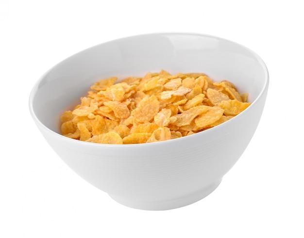 Cornflakes op een witte