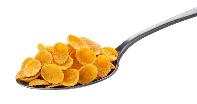 Cornflakes op wit met het knippen van weg worden geïsoleerd die