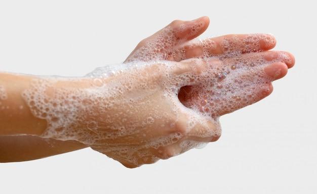 Corona-virus pandemische preventie, handen wassen met zeep