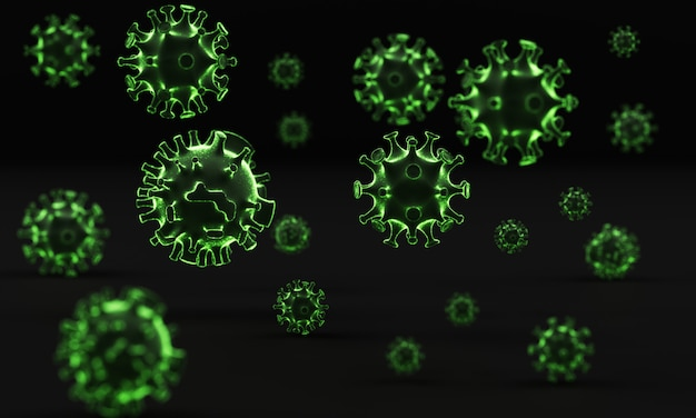 Coronavirus bij het zwarte 3d teruggeven als achtergrond
