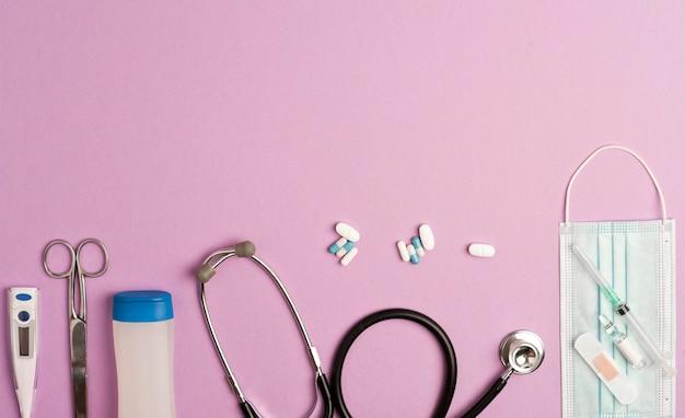 Coronavirus concept. accessoires geneeskunde, preventie en vaccinatie coronavirus