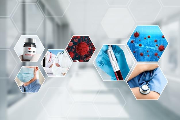 Coronavirus covid-19 fotoset banner in concept van medische behandeling